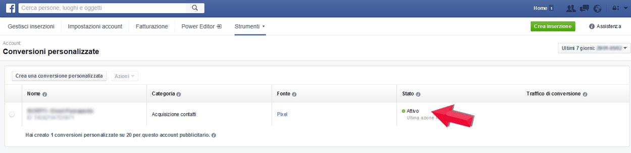 facebook marketing pixel conversioni