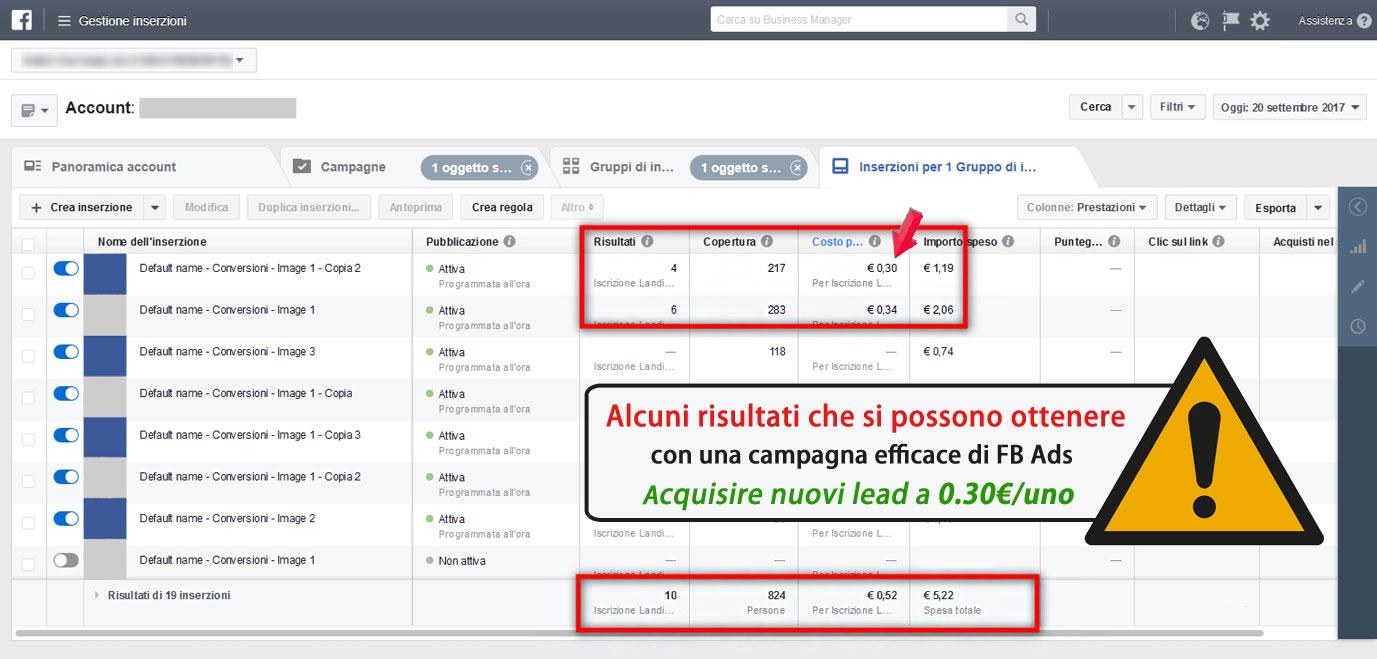 risultati gestione campagna facebook ads